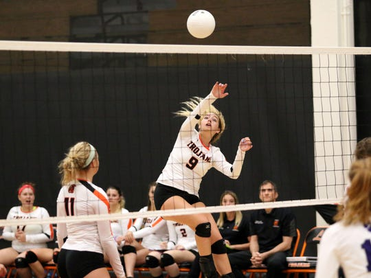 Lely freshman Colleen Ziegelmaier hits the ball during the Class 6A-District 12 championship between Lely and Cypress Lake in Naples on Thursday, Oct. 19, 2017. With a three-game sweep, Lely won its seventh straight district title and will face Dunedin on Wednesday in the regional tournament.