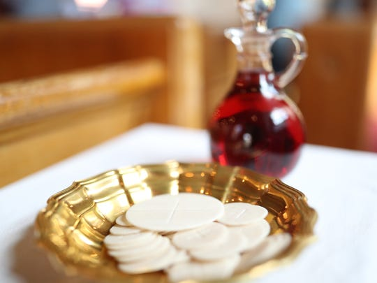 The Communion wine and wafers.