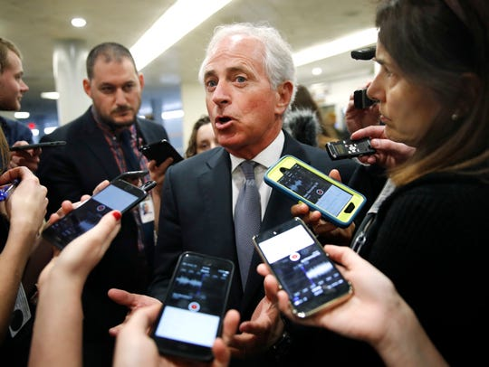 Sen. Bob Corker, R-Tenn., speaks to reporters while