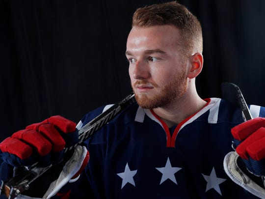 Declan Farmer won gold at the Sochi Paralympics with the U.S. sled hockey team.