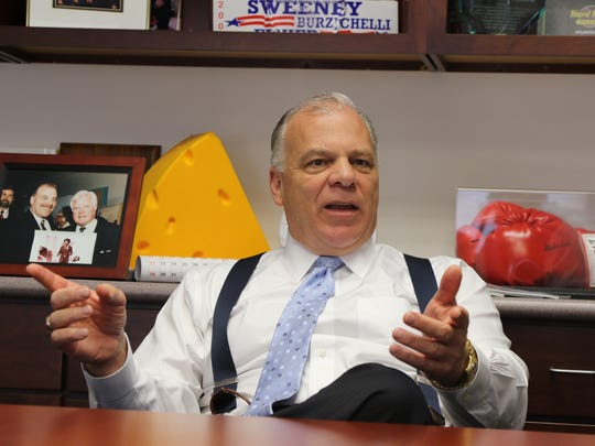 Senate President Stephen Sweeney in his office in October being interviewed by Charlie Stile about the tenure of Governor Chris Christie.