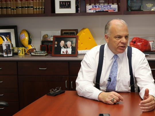 Senate President Stephen Sweeney being interviewed in his office in October 2017 by Charles Stile about the tenure of Gov. Chris Christie.
