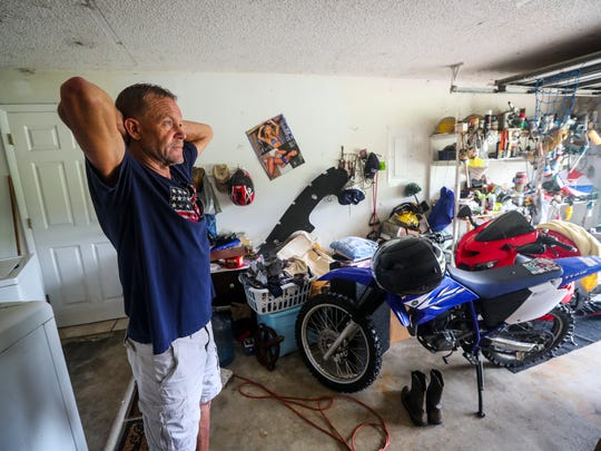 Kent Cary is completely frustrated with the flooding of his property along Tuckahoe Road in Alva. His cars were flooded, but he saved his motorcycles. He can't live in his home because of the mold. He is living in a shed out back to watch his property. Residents along Bedman Creek were flooded during Hurricane Irma, but they feel like the flooding was man made and not because of the storm.
