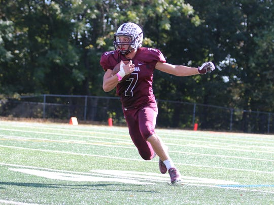 Verona senior CJ Lavery scored three touchdowns, one by running, one on an interception and one on a kickoff return against Boonton.