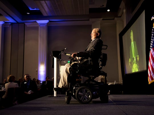Travis Roy was the keynote speaker at the 23rd annual Blue Chip Awards at the Coconut Hyatt Regency in Bonita Springs on Thursday. He was rendered a parapalegic during a college hockey game in 1995. He is now a philanthropist, motivational speaker and author on how to overcome adversity.