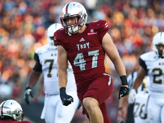 Hunter Reese, who came to Troy as a walk-on in 2014, was a first-team All-Sun Belt player in 2017 as a junior.