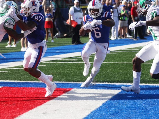 Louisiana Tech running back Boston Scott scores a touchdown during a game against North Texas at Joe Aillet Stadium in Ruston, La., Saturday, Nov. 4, 2017.