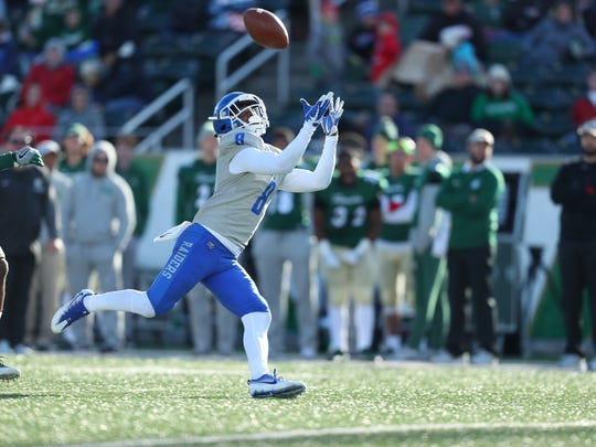 MTSU wide receiver Ty Lee gets under a pass thrown by Brent Stockstill during MTSU's win over Charlotte at Jerry Richardson Stadium on Nov. 11, 2017.