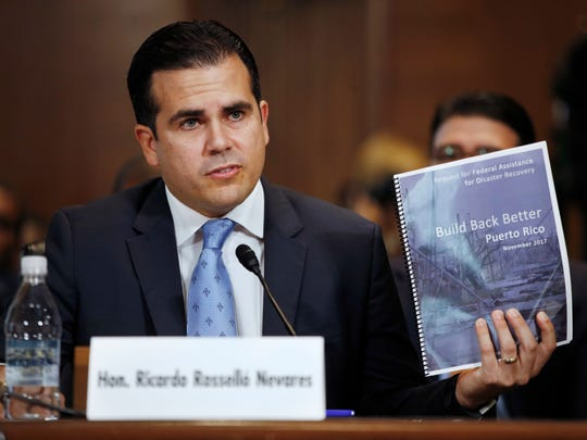 Puerto Rico Gov. Ricardo Rossello, speaks during a Senate Committee on Energy and Natural Resources hearing on hurricane recovery, Tuesday, Nov. 14, 2017, on Capitol Hill in Washington.