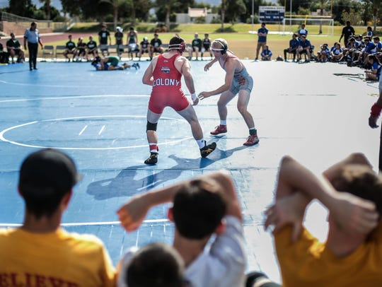 Palm Desert's Michael Cochran faces off with Colony's