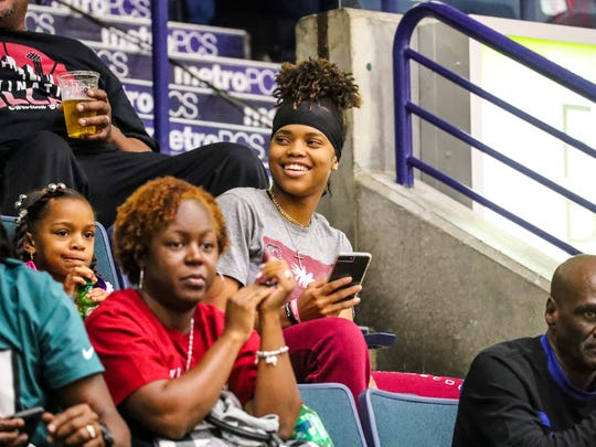 Destanni shows little emotions when watching the game.  Destanni Henderson watching South Carolina play in the Gulf Coast Showcase. Defending national champion South Carolina played in the Gulf Coast Showcase this weekend at Germain Arena and 1 of the Gamecocks' 2018 recruits is Fort Myers High's Destanni Henderson. They offered her in the 8th grade.
