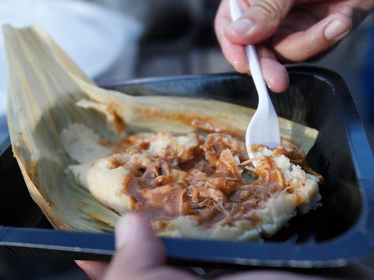The church Iglesia La Luz Del Mundo sells tamales at the 2017 Indio International Tamale Festival for it's sixth consecutive year. The church is a favorite among locals who enjoy their red pork specialty tamales.