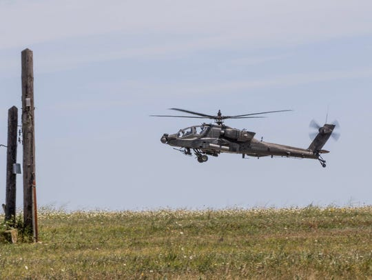 An Apache helicopter from Charlie Company, 1st Battalion,