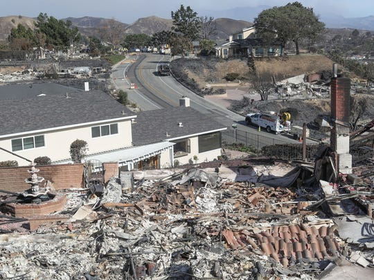 Homes were destroyed by the Thomas Fire sit next to