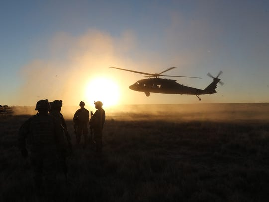 Black Hawk helicopter crews from the 3rd Battalion, 501st Aviation Regiment take part in brigade gunnery at Fort Bliss.