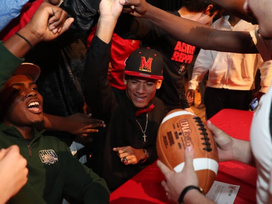 South Fort Myers football players Jeshaun Jones and Darfnell Gouin signed letters of intent on Wednesday. Jones signed with Maryland and Gouin signed with Ohio university.