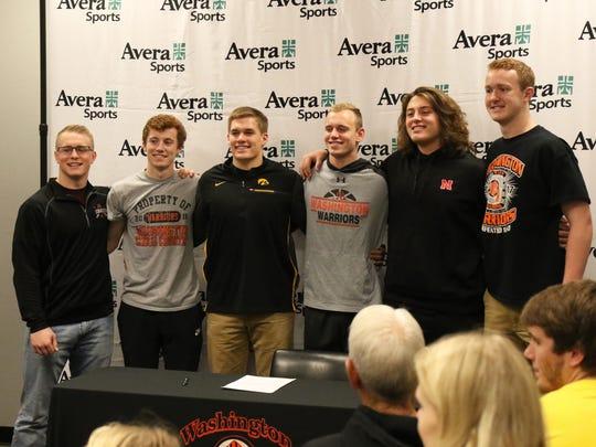 Washington Warriors (L-R) Brock Walker, Topher Zahn, Seth Benson, Logan Uttecht, Will Farniok and Zach Heins pose for a photo Friday at the Avera Sports Institute.