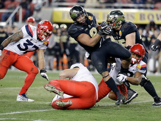 Purdue running back Markell Jones carries against Arizona during the second half of the Foster Farms Bowl NCAA college football game Wednesday, Dec. 27, 2017, in Santa Clara, Calif. (AP Photo/Marcio Jose Sanchez)