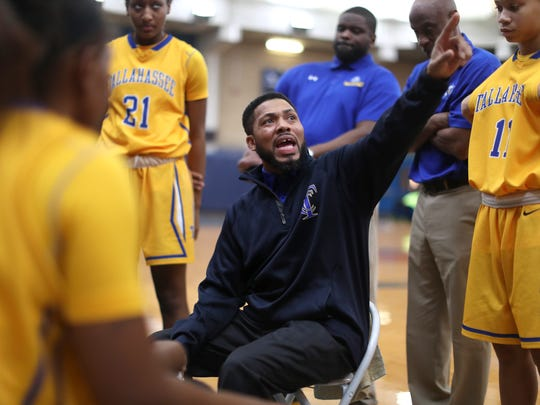 TCC Head Coach Franqua Bedell talks to his team during the Eagle's 86-55 win against Chattahoochee Valley in the Tallahassee Democrat Holiday Classic at the Bill Hebrock Eagledome Friday, Dec. 29, 2017.