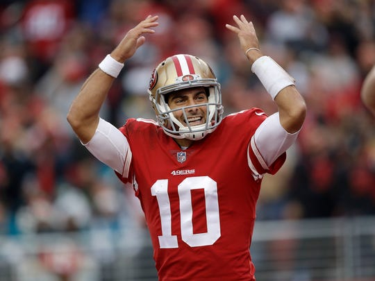 Jimmy Garoppolo has looked like a franchise-changing quarterback since being traded to the 49ers from the Patriots.