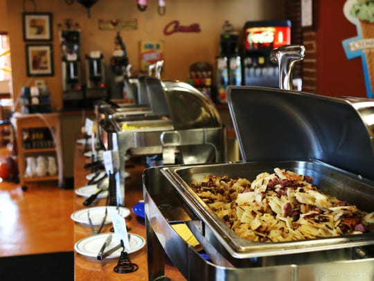 Though they serve up breakfast every Sunday, the Sixth Street Filling Station offers a brunch buffet once a month.