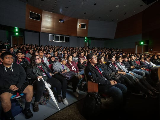"""Students watch the documentary """"Stumped"""" by director Robin Berghaus on Tuesday, January 8, 2018 at the Performing Arts Center at Indio High School as part of the Student Screening Day of the 29th Annual Palm Springs International Film Festival."""