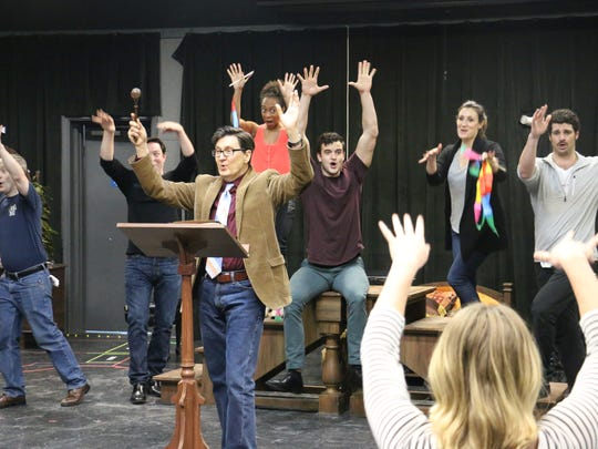 """The cast of """"The Mystery of Edwin Drood"""" rehearse for"""