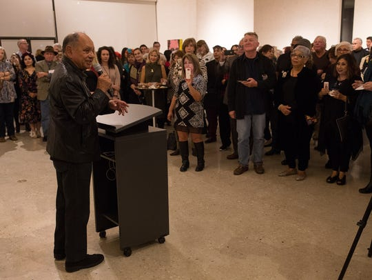 Cheech Marin speak during the reception for his showcase
