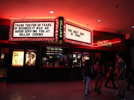"The Dollar Cinema marquee thanks customers for 30 years in business. People participated in a ""Walk Around the Mall like it's the 80s"" event at the Sunrise Mall on Monday, January 15, 2018. The Dollar Cinema movie theater, is closing and the walk was held to encourage people to shop at the stores in the mall."