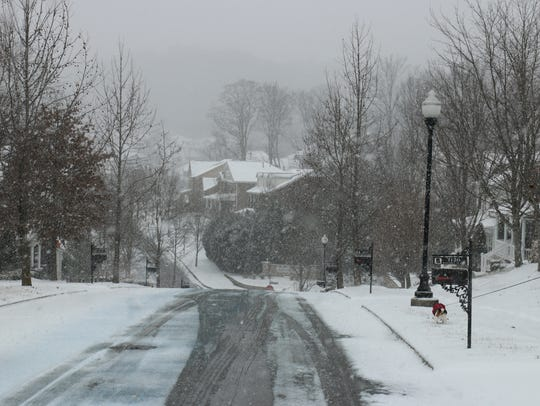 Snow blanketed the McKay's Mill neighborhood on Tuesday,