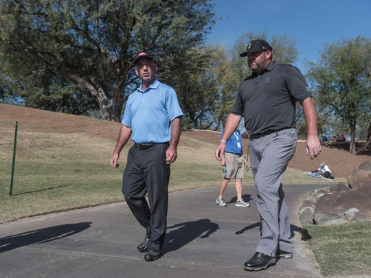Corey Pavin, left, and Jason Gore on 18 in the Stadium Course in the first round of the CareerBuilder Challenge on Thursday, January 18, 2018 in La Quinta, CA