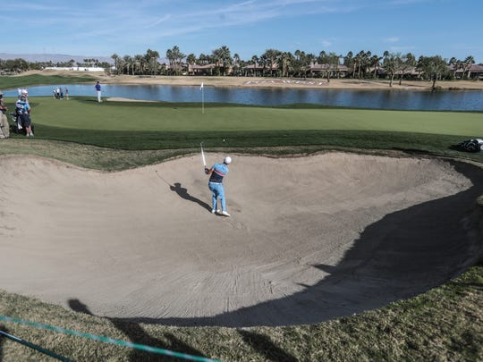 Wesley Bryan on 18 on the Nicklaus Tournament Course in the first round of the CareerBuilder Challenge on Thursday, January 18, 2018 in La Quinta, CA