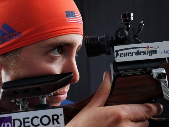 Team USA biathlon competitor Susan Dunklee during the 2018 U.S. Olympic Team media summit at the Grand Summit Hotel.