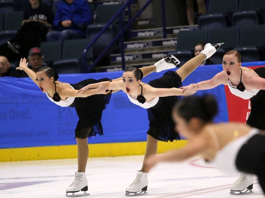 D.C. Edge performs during the junior Eastern Synchronized Sectional Championships at Germain Arena on Saturday, Jan. 20, 2018.