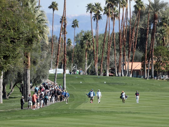 Adam Hadwin and Kevin Kisner's group on nine at La Quinta Country Club during the 3rd round of the CareerBuilder Challenge on Saturday, January 20, 2017 in La Quinta, CA.