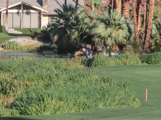 Stewart Cink in the rough on ninth hole at La Quinta Country Club during the third round of the American Express tournament.