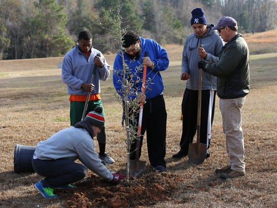 Volunteers helped plant more than 165 trees in the Apalachee Regional Park in honor of Arbor Day.