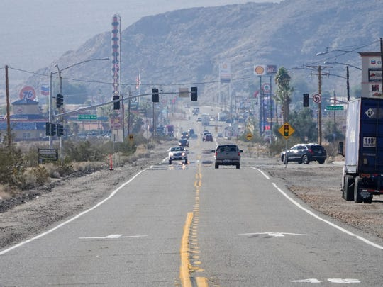 The town of Baker, California, as seen from the driveway of the former Arne's Royal Hawaiian motel.