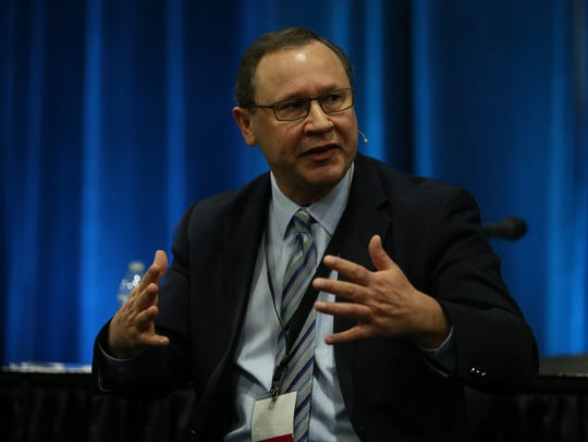 Steve Marks, executive director of the Oregon Liquor Control Commission, at the Cannabis Collaborative Conference in Portland, Ore., on Jan. 24, 2018.