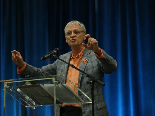 U.S. Rep. Earl Blumenauer, D-Ore., delivers a keynote speech at the Cannabis Collaborative Conference   in Portland, Ore., on Wednesday, Jan. 24, 2018.