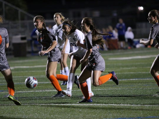 Barron Collier senior Sierra Rincon takes a shot at goal during the first half of the Class 3A-District 14 championship game between the Cougars and Lely on Friday.