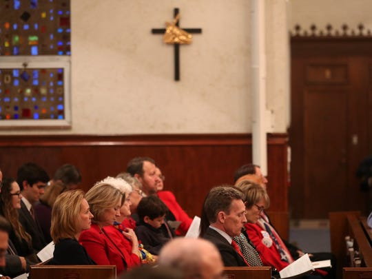 Catholic bishops of Florida, elected officials and members of the community gather for the 43rd annual Red Mass Wednesday, Jan. 31, 2018 at the Co-Cathedral of St. Thomas More. The tradition, born in 13th century France, is meant as a call on God to help guide judges and lawyers through finding true justice.