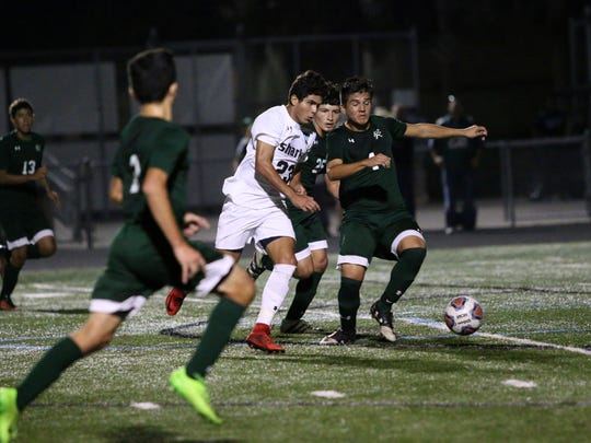 Gulf Coast midfielder Sebastian Joffre (23) dribbles up the field during the the Class 4A-District 12 championship against Palmetto Ridge on Friday.