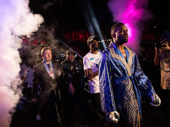 Boxer Jesse Hart enters the arena for his Supper Middleweight