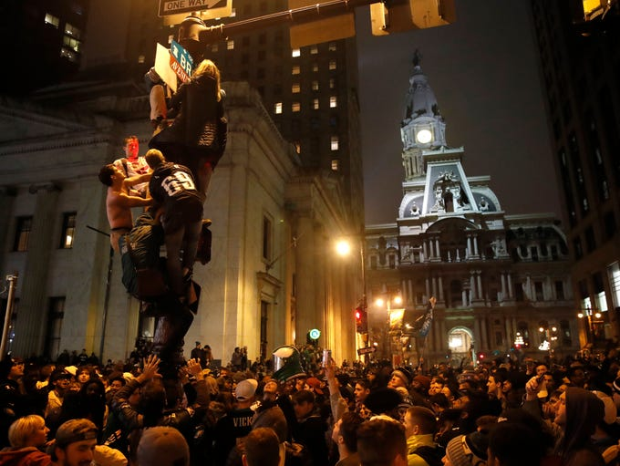 Philadelphia Eagles fans celebrate the team's victory