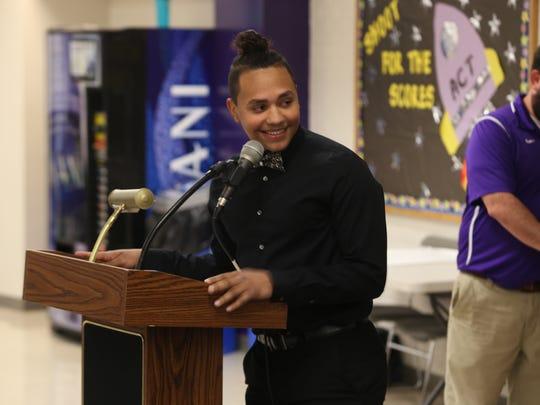 Clarksville High's Jaden Ramos speaks to students and