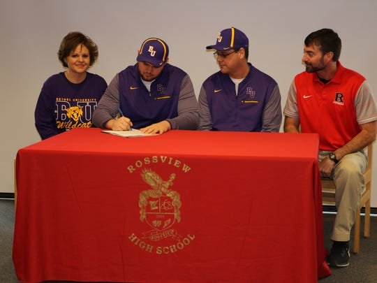 Rossview lineman Tyler McCoin signed with Bethel Wednesday
