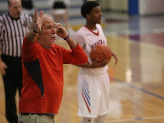 Montgomery Central coach Jimmy Young gives his team