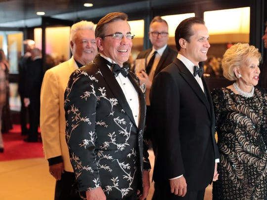 Palm Springs Mayor Rob Moon, second from left, arrives at the annual Steve Chase Humanitarian Awards Gala on Saturday, February 10, 2018 at the Palm Springs Convention Center.