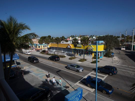 A view overlooking Helmerich Plaza on Fort Myers Beach. TPI Hospitality's request for rezoning its properties near Times Square, Fort Myers Beach,  goes to a public hearing Tuesday before the Local Planning Agency. The company wants to redevelop the parcels into a resort hotel with shops, restaurants and a water park.